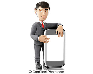 3d Businessman standing with a smartphone.