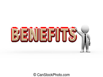 3d businessman standing with benefits