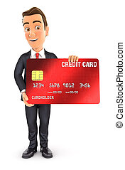 3d businessman standing with credit card
