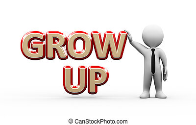 3d businessman standing with grow up
