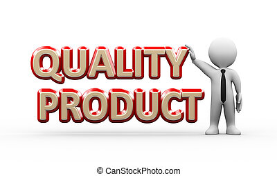 3d businessman standing with quality product
