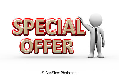 3d businessman standing with special offer