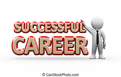 3d businessman standing with successful career