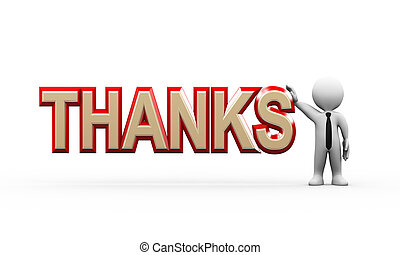 3d businessman standing with thanks