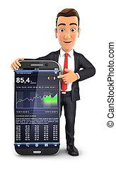 3d businessman statistics phone