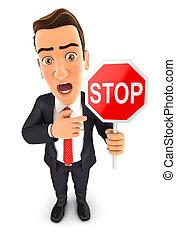 3d businessman stop sign