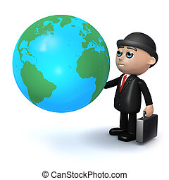 3d Businessman studies a globe of the Earth