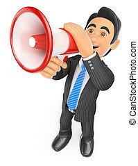 3D Businessman talking through a megaphone