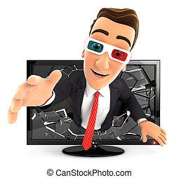 3d businessman television