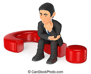 3D Businessman thoughtful sitting on a question mark