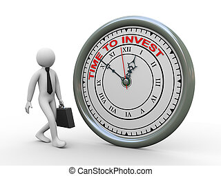 3d businessman time to invest clock