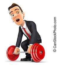3d businessman trying to lift heavy weight