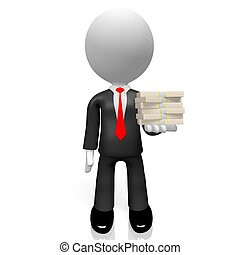 3D businessman, US dollars