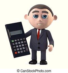 3d Businessman uses a calculator