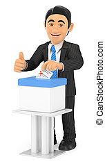 3D Businessman voting in a ballot box