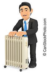 3D Businessman warming himself with an portable radiator