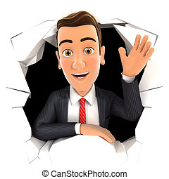 3d businessman waving hand through hole in wall, isolated...