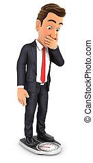 3d businessman weighing himself on bathroom scale