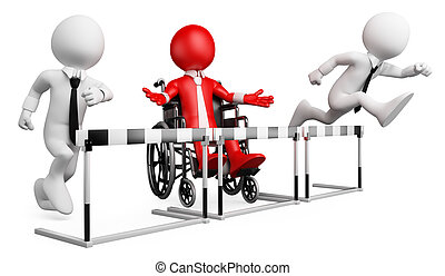 3d white business person disabled in a hurdle race. 3d image. Isolated white background.