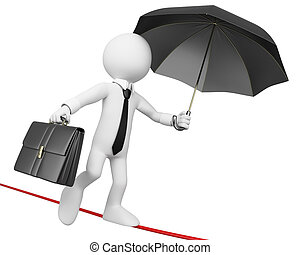3D businessman white people. Businessman doing balance