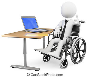3d white business person disabled working at office. 3d image. Isolated white background.