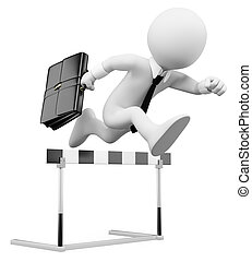 3d white business person in a hurdle race. 3d image. Isolated white background.