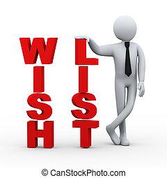 3d businessman wish list presentation - 3d illustration of ...