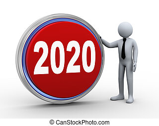 3d businessman with 2020 button