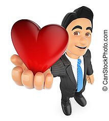 3D Businessman with a big red heart