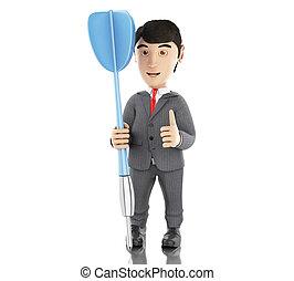 3d businessman with a blue dart.