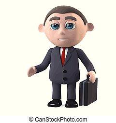 3d Businessman with a briefcase