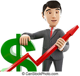 3d Businessman with a dollar sign and growth graph.