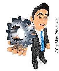 3D Businessman with a gear