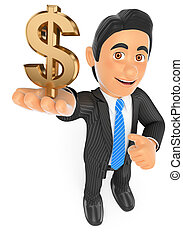 3D Businessman with a gold dollar symbol