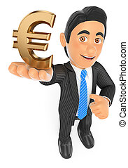 3D Businessman with a gold euro symbol