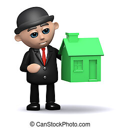 3d Businessman with a green house
