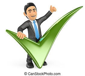3D Businessman with a green tick and thumb up