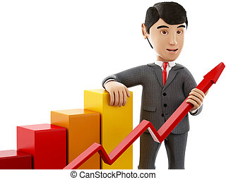 3d Businessman with a growth graph.
