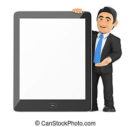 3D Businessman with a huge tablet blank screen