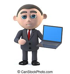 3d Businessman with a laptop pc