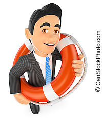 3D Businessman with a lifesaver. Bailout. Financial rescue