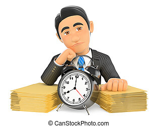 3D Businessman with a lot of work and little time - 3d...