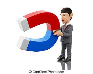 3d Businessman with a magnet. Business concept.