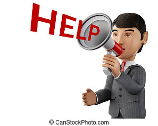 3d Businessman with a megaphone and word help. - 3d renderer...