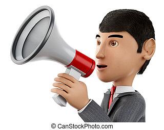 3d Businessman with a megaphone. Business concept.