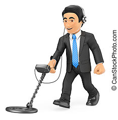 3D Businessman with a metal detector