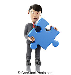 3d Businessman with a piece of puzzle. Business concept.