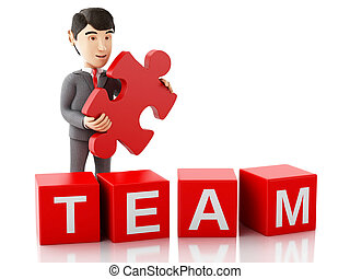 3d Businessman with a piece of puzzle with word team.