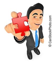 3D Businessman with a puzzle piece