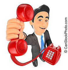 3D Businessman with a red telephone. Call concept